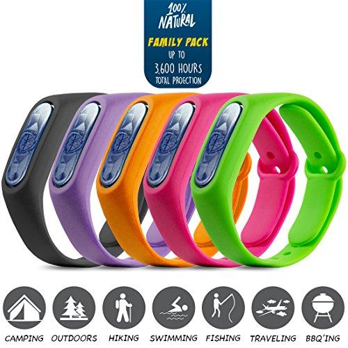 SHIELD Natural Anti Mosquito Insect & Bug Repellent Bracelet Band DEET Free Safe For Kids & Adults Travel Size Repellent Outdoor Mosquito Control A Must Have Camping Hiking Fishing Accessories - 5 PK