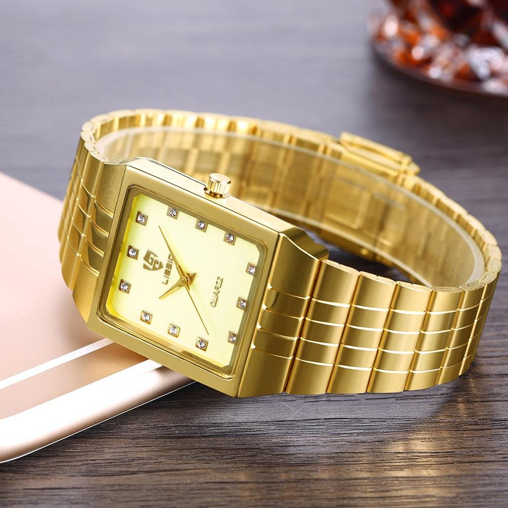 SKMEI Golden Quartz Watch Men Women Watches Relogio Masculino Top Luxury Gold Bracelet Wrist Watches Steel Female Male Clock