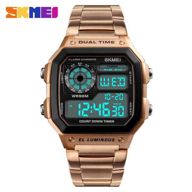SKMEI Men Sports Watches Count Down Waterproof Watch Stainless Steel Fashion Digital Wristwatches Male Clock Relogio Masculino