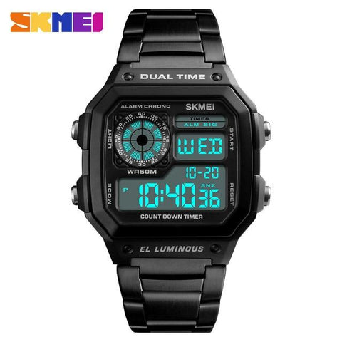 Image of SKMEI Men Sports Watches Count Down Waterproof Watch Stainless Steel Fashion Digital Wristwatches Male Clock Relogio Masculino