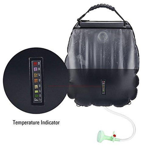 Solar Shower Bag, 5 Gallons/20L Solar Heating Premium Camping Shower Bag Hot Water With Temperature 45°C Removable Hose On/off Switchable Shower Head Hiking Climbing Summer Shower K8