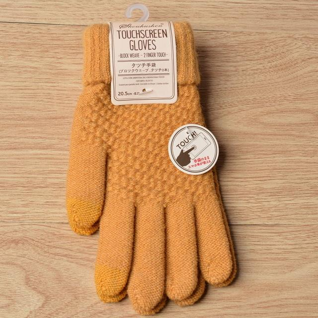 Solid Magic Touch Screen Gloves Women Men Warm Winter Stretch Knit Mittens Wool Full Finger Guantes Female Crochet Mitt Luvas