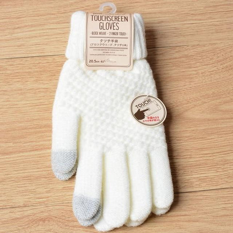 Image of Solid Magic Touch Screen Gloves Women Men Warm Winter Stretch Knit Mittens Wool Full Finger Guantes Female Crochet Mitt Luvas