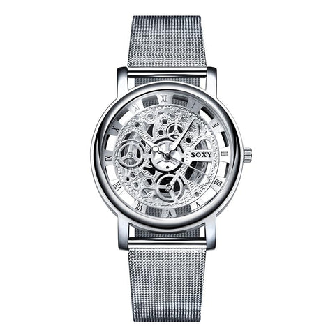 Image of SOXY Skeleton Wrist Watch Men Simple Style Mesh Belt Men Women Unisex Quartz Watches Hollow Watches Relogio Masculino