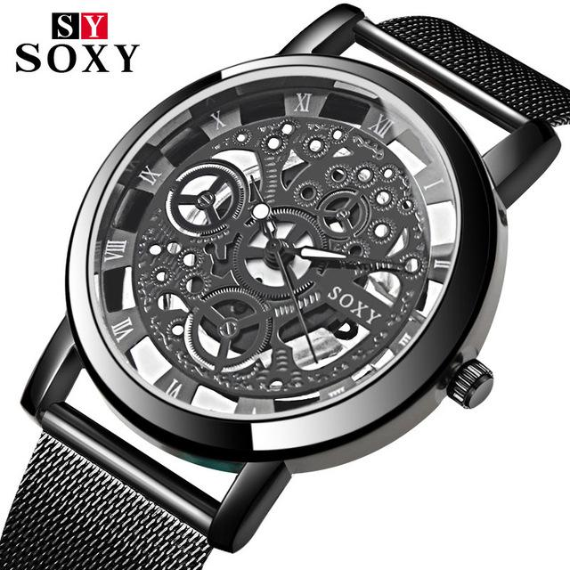 SOXY Skeleton Wrist Watch Men Simple Style Mesh Belt Men Women Unisex Quartz Watches Hollow Watches Relogio Masculino