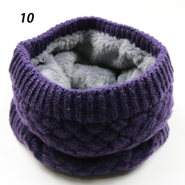 Sparsil Unisex Winter Warm Knitted Ring Scarves Thick Fleece Inside Super Elastic Knit Mufflers Men Women Children Neck Warmers