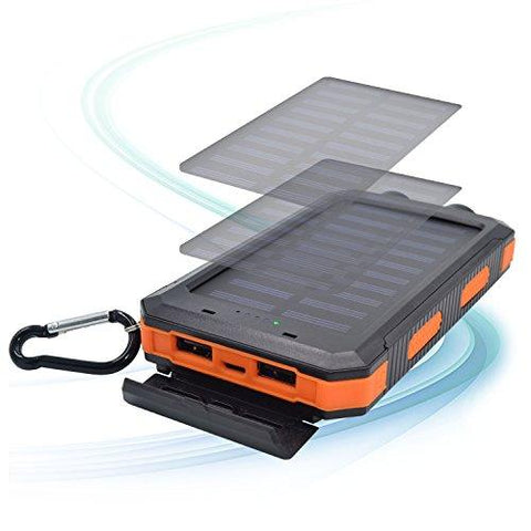 SPEEDWOLF 15,000MAH Waterproof Powerbank Dual USB Portable Chargers Solar Power Bank Battery For Iphone Android Cellphones With 3in1 USB Cable And 2LED Flashlight For Emergency Outdoor Camping Travel