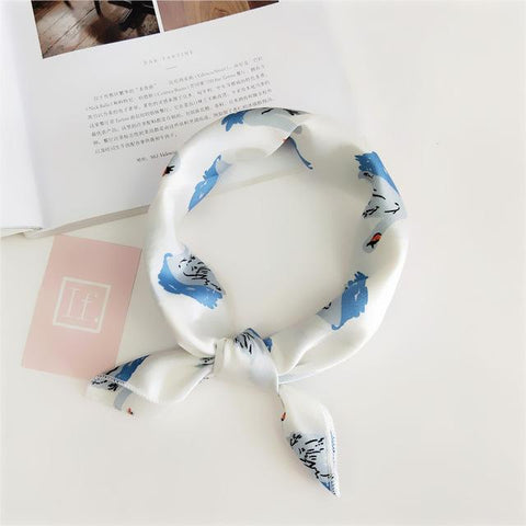 Image of Square Scarf Hair Tie Band For Business Party Women Elegant Small Vintage Skinny Retro Head Neck Silk Satin Scarf