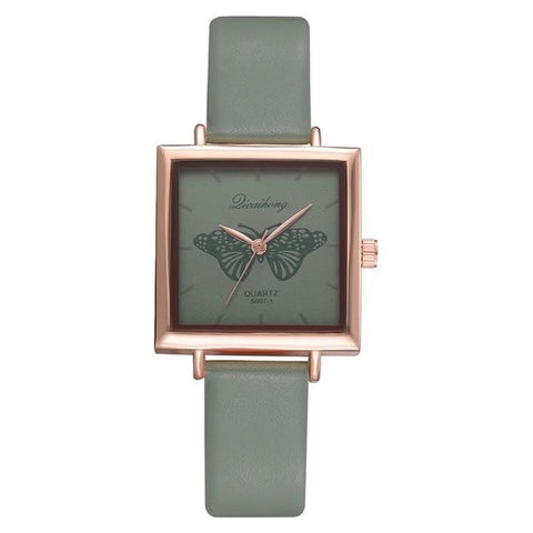 Image of Square Women Bracelet Watch Contracted Leather Crystal WristWatches Women Dress Ladies Quartz Clock