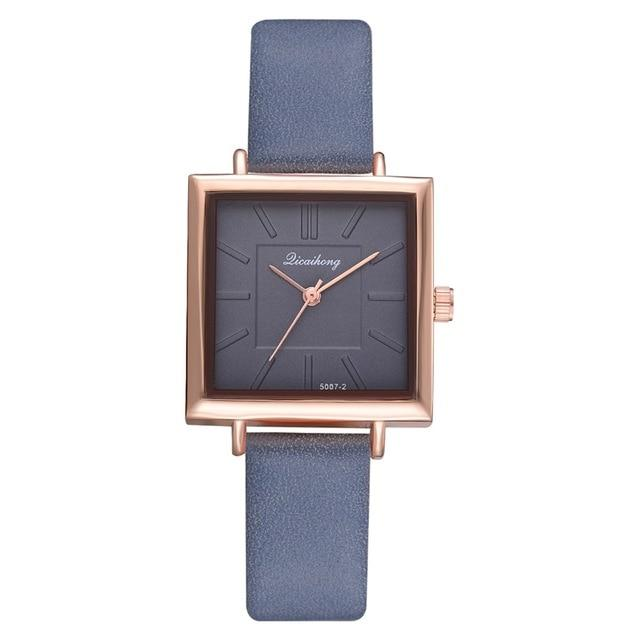 Square Women Bracelet Watch Contracted Leather Crystal WristWatches Women Dress Ladies Quartz Clock
