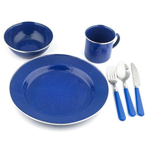 Stansport Enamel Camping Tableware Set, 24-Piece, Blue