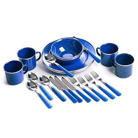 Image of Stansport Enamel Camping Tableware Set, 24-Piece, Blue