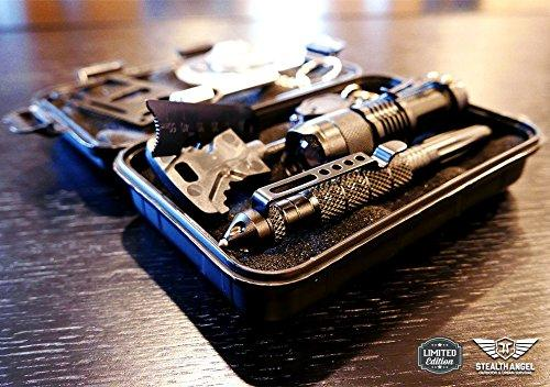 Stealth Angel Compact 8-in-1 Survival Kit, Multi-Purpose EDC Outdoor Emergency Tools And Evereyday Carry Gear, Official Stealth Angel Survival Kit