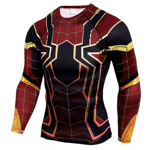 Image of Superman Punisher Rashgard Running Shirt Men T-shirt Long Sleeve Compression Shirts Gym T-shirt Fitness Sport Shirt Men