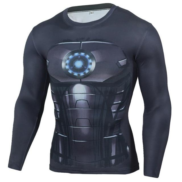 Superman Punisher Rashgard Running Shirt Men T-shirt Long Sleeve Compression Shirts Gym T-shirt Fitness Sport Shirt Men