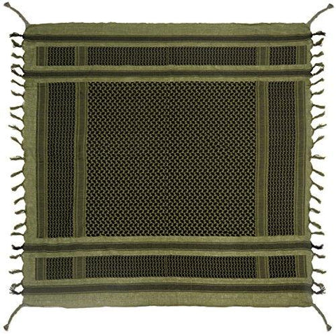 Image of Survival General 100% Cotton Shemagh Tactical Military Keffiyeh Scarf Wrap Emergency Towel (Green/Black)