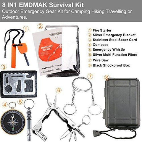Image of Survival Kit EMDMAK Outdoor Emergency Gear Kit For Camping Hiking Travelling Or Adventures