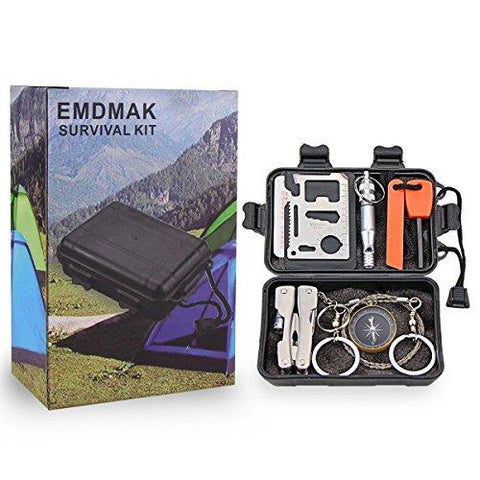 Survival Kit EMDMAK Outdoor Emergency Gear Kit For Camping Hiking Travelling Or Adventures (Black)