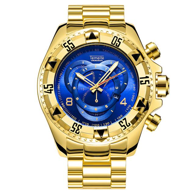 TEMEITE Mens Fashion Creative Big Dial Watch Luxury Gold Steel Quartz Wristwatches Waterproof Male Relogio Masculino De Luxo