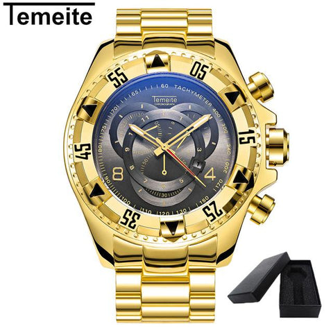 Image of TEMEITE Mens Fashion Creative Big Dial Watch Luxury Gold Steel Quartz Wristwatches Waterproof Male Relogio Masculino De Luxo