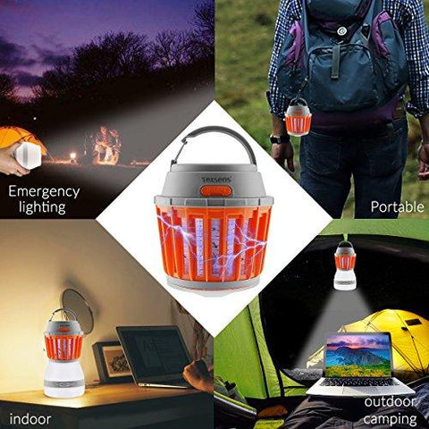 Image of Texsens Bug Zapper & Camping Lantern-IP67 Rainproof 2-in-1 Zapper Lantern Charge Via USB Lightweight Camping Gear & Accessories For The Outdoors & Emergencies