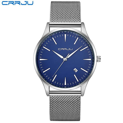 Image of Top Luxury Brand Men Full Stainless Steel Mesh Strap Business Watches Men's Quartz Date Clock Men Wrist Watch Relogio Masculino