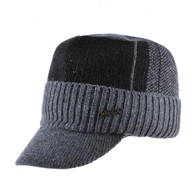 Image of TQMSMY Winter Military Hats For Men Bone Baseball Cap Men's Knitted Wool Caps Double Layer Warm Gorros Scarf Hat Set