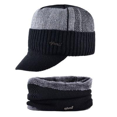TQMSMY Winter Military Hats For Men Bone Baseball Cap Men's Knitted Wool Caps Double Layer Warm Gorros Scarf Hat Set