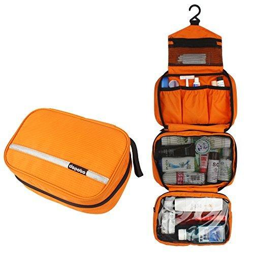 Travelling Toiletry Bag, Dopobo Portable Hanging Water-Resistant Wash Bag For Travelling, Business Trip, Camping(orange)