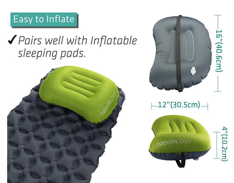 Image of Trekology Ultralight Inflating Travel/Camping Pillows - Compressible, Compact, Inflatable, Comfortable, Ergonomic Pillow For Neck & Lumbar Support While Camp, Backpacking