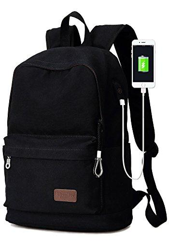 Upoalker Canvas Backpack For School Travel Daypack Fits Up To 15.6 Inch Laptop (Black)