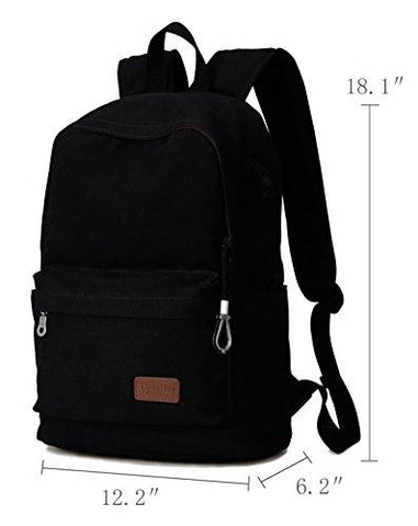 Image of Upoalker Canvas Backpack For School Travel Daypack Fits Up To 15.6 Inch Laptop (Black)