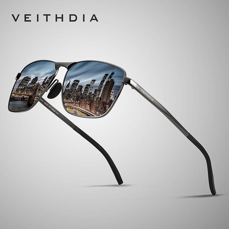 VEITHDIA Men's Vintage Square Sunglasses Polarized UV400 Lens Eyewear Accessories Male Sun Glasses For Men/Women V2462