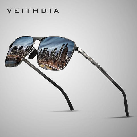 Image of VEITHDIA Men's Vintage Square Sunglasses Polarized UV400 Lens Eyewear Accessories Male Sun Glasses For Men/Women V2462