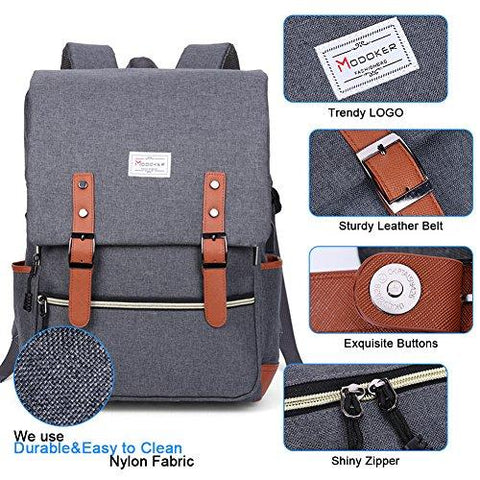 Vintage Laptop Backpack With USB Charging Port Lightweight School College Bag Rucksack Fits 15-inch Notebook, Grey A