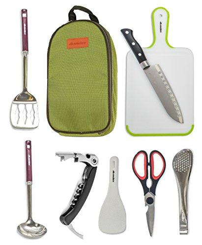 Wealers 7 Piece Outdoor Indoor Camping Bbq Cooking Utensils Set Kitchenware Cookware Set, Cutting Board, Rice Paddle, Tongs, Scissors, Knife, (Green)