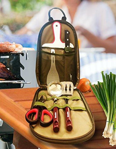 Image of Wealers 7 Piece Outdoor Indoor Camping Bbq Cooking Utensils Set Kitchenware Cookware Set, Cutting Board, Rice Paddle, Tongs, Scissors, Knife, (Green)