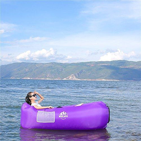 Image of WEKAPO Inflatable Lounger Air Sofa Hammock-Portable,Water Proof& Anti-Air Leaking Design-Ideal Couch For Backyard Lakeside Beach Traveling Camping Picnics & Music Festivals