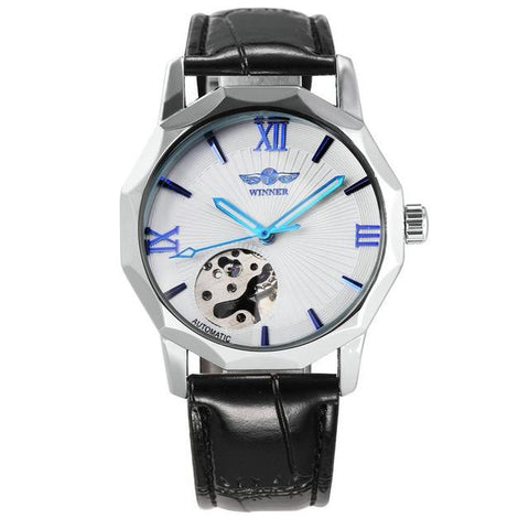 Image of Winner Blue Exotic Dodecagon Design Skeleton Dial Men Watch Geometry Top Brand Luxury Automatic Fashion Mechanical Watch + BOX