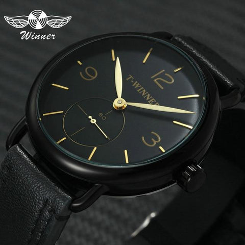 Image of WINNER Classic Golden Skeleton Mechanical Watch Men Stainless Steel Strap Top Brand Luxury Man Watch VIP