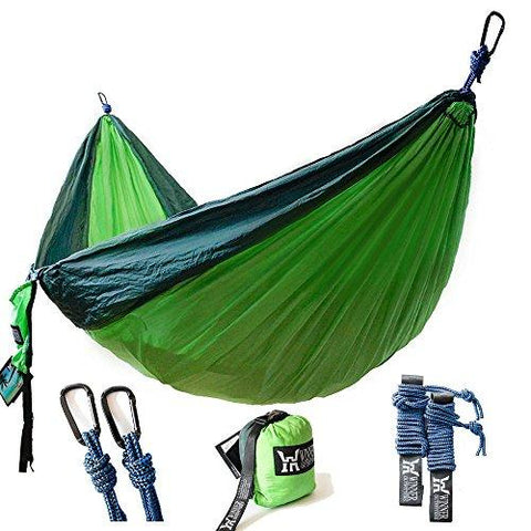 "Image of Winner Outfitters Double Camping Hammock - Lightweight Nylon Portable Hammock, Best Parachute Double Hammock For Backpacking, Camping, Travel, Beach, Yard. 118""(L) X 78""(W), Dark Green/Green Color"