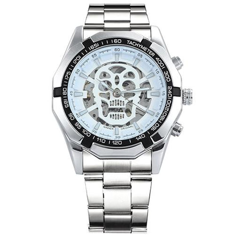 Image of WINNER Steampunk Skull Auto Mechanical Watch Men Black Stainless Steel Strap Skeleton Dial Fashion Cool Design Wrist Watches