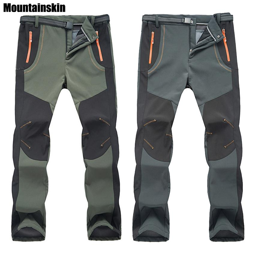 Winter Men Women Hiking Pants Outdoor Softshell Trousers Waterproof Windproof Thermal For Camping Ski Climbing