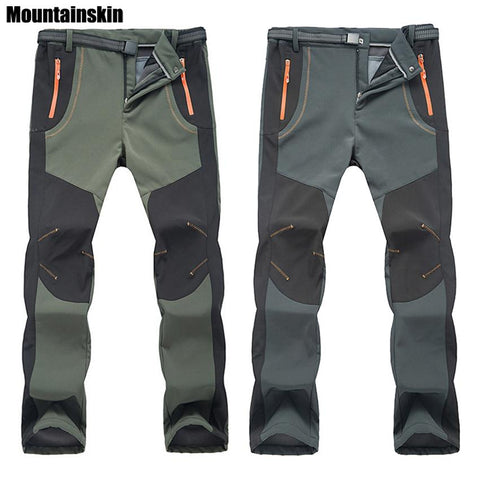 Image of Winter Men Women Hiking Pants Outdoor Softshell Trousers Waterproof Windproof Thermal For Camping Ski Climbing