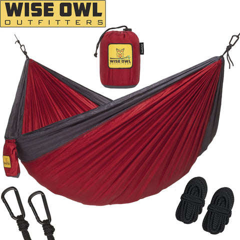 Wise Owl Outfitters Hammock For Camping - Single & Double Hammocks - Top Rated Best Quality Gear For The Outdoors Backpacking Survival Or Travel - Portable Lightweight Parachute Nylon Many Colors