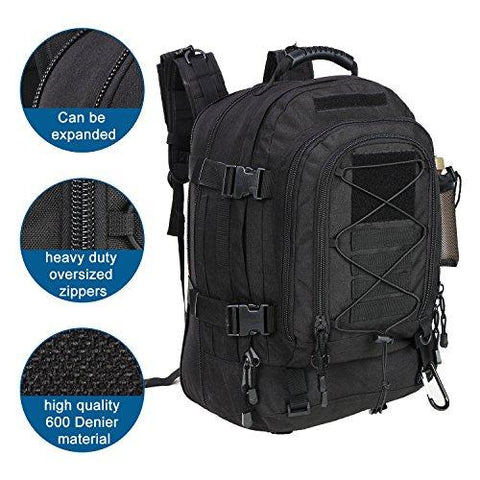 WolfWarriorX Military Tactical Assault Backpack 3-Day Expandable Backpack Waterproof Molle Rucksack For The Outdoors, Camping, Hiking & Trekking (Black)