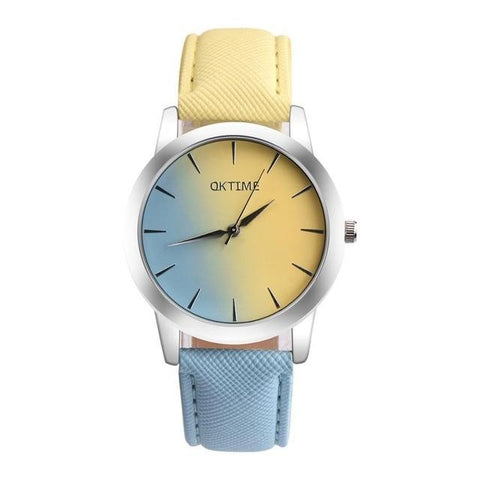 Image of Women's Bracelet Watches Quartz Wrist Watch Retro Rainbow Design Casual Leather Band Ladies Dress Sport Watches Relogio Feminino