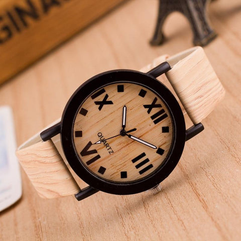 Image of Wooden Quartz Men Watches Casual Wooden Color Leather Strap Watch Wood Male Wristwatch