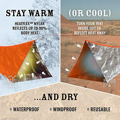 World's Toughest Ultralight Survival Tent • 2 Person Mylar Emergency Shelter Tube Tent + Paracord • Year-Round All Weather Protection For Hiking, Camping, & Outdoor Survival