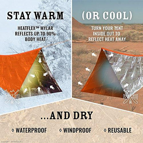 Image of World's Toughest Ultralight Survival Tent • 2 Person Mylar Emergency Shelter Tube Tent + Paracord • Year-Round All Weather Protection For Hiking, Camping, & Outdoor Survival